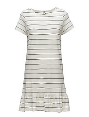 STRIPED DRESS W. PEPLUM - ICE
