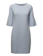 JERSEY DRESS W.FLOUNCE SLEEVE - P.BLUE