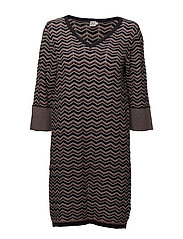 WAVE PATTERN KNIT DRESS - BL DEEP