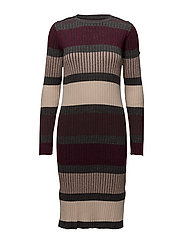 STRIPED KNIT DRESS - WINE