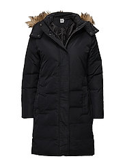DOWN COAT WITH FAUX FUR - BLACK