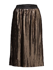 PLISSE METALLIC SKIRT - COPPER