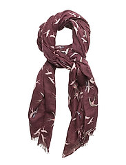 BIRD PRINT SCARF - WINE