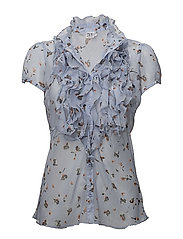SMALL FLOWER P RUFFLE BLOUSE - EVENTIDE