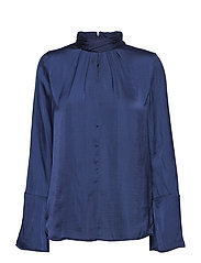 BLOUSE  W GATHERED COLLAR - ANT.BLUE