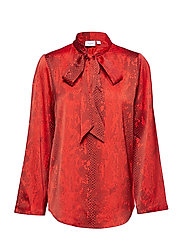 SNAKE P BLOUSE W TIEBAND - A.RED