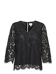WOVEN LACE TOP - BLACK
