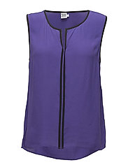 TOP WITH CONTRAST PIPINGS - N.VIOLET