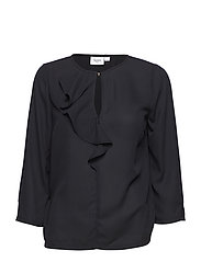 BLOUSE WITH RUFFLE FRONT - BLACK