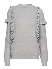 KNIT BLOUSE W RUFFLES - C. GREY M