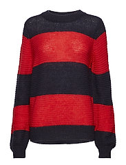 STRIPED KNIT BLOUSE - A.RED