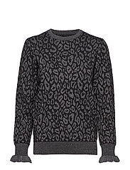 LEOPARD KNIT BLOUSE - BLACK