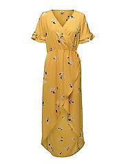 LARGE FLOWER P WRAP OVER DRESS - SULPHUR