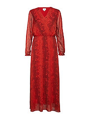 SNAKE PRINTED LONG DRESS - A.RED