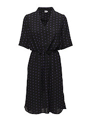 DRESS WITH TIE STRING DETAIL - BLACK