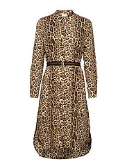 LEOPARD PRINT DRESS W. BELT - BLACK
