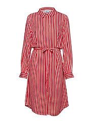 WOVEN DRESS ON KNEE LENGTH - TOMATO