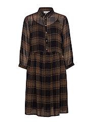 WOVEN DRESS BELOW KNEE 3/4 SLE - BLACK