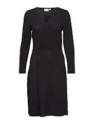 SHIMMER DRESS W KNOT - BLACK