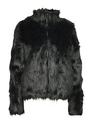 LONG HAIR FAUX FUR JACKET - FOREST
