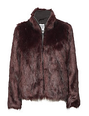 LONG HAIR FAUX FUR JACKET - WINE
