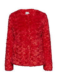 FAUX FUR JACKET - POPPYRED
