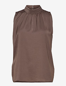 N1379, BLOUSE WITH HIGH COLLAR DETA - sleeveless blouses - chocolate brown