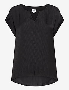 P1326, TOP WITH FABRIC DOTS - blouses med korte mouwen - black