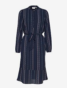 U6000, WOVEN DRESS BELLOW KNEE - BL DEEP