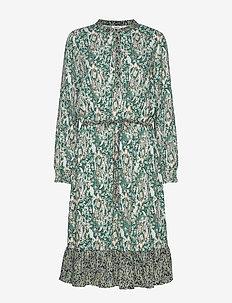 U6030, WOVEN DRESS BELLOW KNEE - EVERGREEN(S)