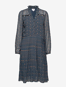 U6036, WOVEN SHIRT DRESS ON KNEE - M.NAVY