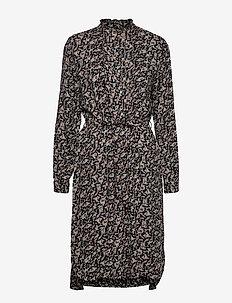 U6056, WOVEN DRESS BELOW KNEE - BLACK