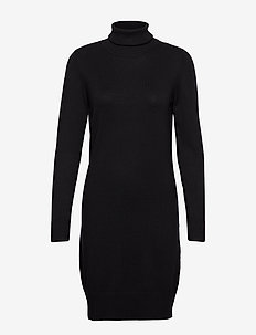 U6801, MilaSZ Rollneck Dress - stickade klänningar - black