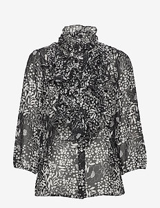 LillySZ Ruffle Shirt Flower Glam - FLOWER GLAM BLACK MS 2020