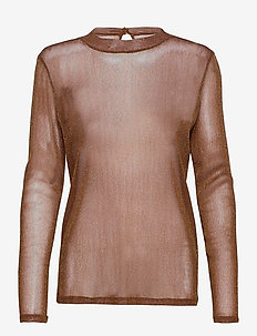 DelilaSZ LS Blouse - long sleeved blouses - friar brown