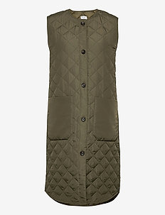 DiaraSZ Long Vest - puffer vests - army green