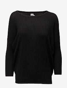 KNIT BLOUSE W RIB SL - gensere - black