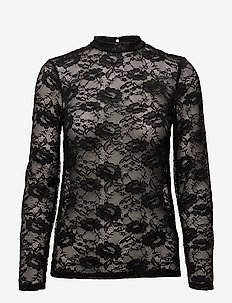 TOP WITH STRETCH LACE - BLACK