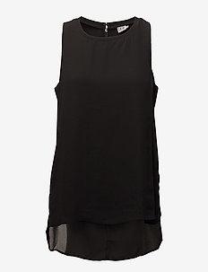 BLOUSE W SLITS - bluzki bez rękawów - black