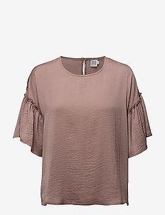 BLOUSE WITH RUFFLE SLEEVE - bluzki z krótkim rękawem - antler