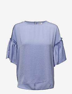 BLOUSE WITH RUFFLE SLEEVE - bluzki z krótkim rękawem - hyacinth