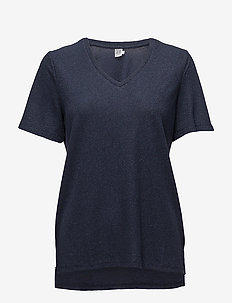 SHIMMER KNIT TOP W. SLITS - t-shirty - m.indigo