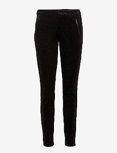 VELVET PANTS WITH GLITTER - casual bukser - black