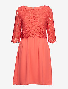 PARTY DRESS W LACE - S.CORAL
