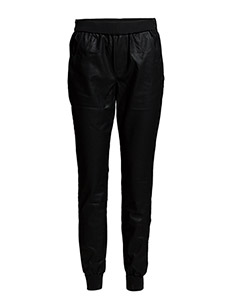 PU PANTS WITH RIB & ZIPPERS - BLACK