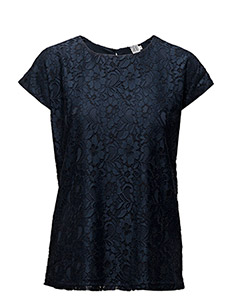 TWO COLOUR LACE BLOUSE - BLUE D.