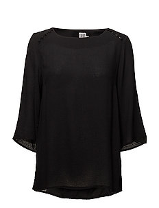BLOUSE W BUTTONS - BLACK