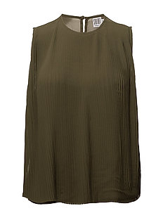 PLISSE TOP - ARMYGREEN