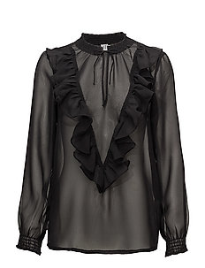 BLOUSE W RUFFLE DETAIL - BLACK