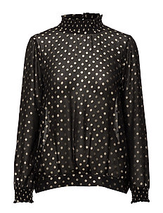 FOIL DOTTED SMOCK BLOUSE - BLACK